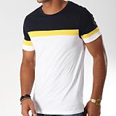/achat-t-shirts/lbo-tee-shirt-tricolore-avec-bandes-493-bleu-marine-blanc-jaune-148684.html
