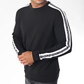 /achat-sweats-col-rond-crewneck/antony-morato-sweat-crewneck-bandes-brodees-mmfl00423-noir-blanc-150046.html
