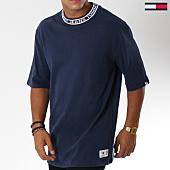 /achat-t-shirts-longs-oversize/tommy-hilfiger-jeans-tee-shirt-oversize-band-collar-5104-bleu-marine-150070.html