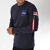 /achat-sweats-col-rond-crewneck/alpha-industries-sweat-crewneck-avec-poche-bomber-nasa-space-shuttle-bleu-marine-150353.html