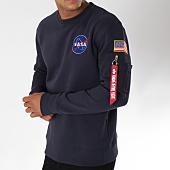 /achat-sweats-col-rond-crewneck/alpha-industries-sweat-crewneck-avec-poche-bomber-nasa-space-shuttle-bleu-marine-150353.html