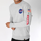 /achat-sweats-col-rond-crewneck/alpha-industries-sweat-crewneck-avec-poche-bomber-nasa-space-shuttle-gris-chine-150354.html