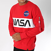 /achat-sweats-col-rond-crewneck/alpha-industries-sweat-crewneck-avec-poche-bomber-nasa-inlay-rouge-150357.html