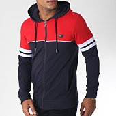 /achat-sweats-zippes-capuche/classic-series-sweat-zippe-capuche-bandes-brodees-8506-bleu-marine-rouge-151221.html