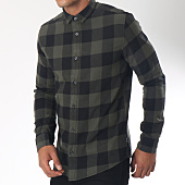 /achat-chemises-manches-longues/only-and-sons-chemise-manches-longues-gudmund-vert-kaki-noir-151515.html