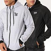 /achat-sweats-zippes-capuche/y-et-w-sweat-zippe-capuche-reversible-gris-chine-noir-152040.html