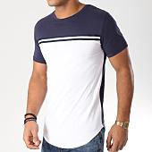 /achat-t-shirts-longs-oversize/lbo-tee-shirt-oversize-bicolore-482-bleu-marine-blanc-152545.html