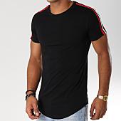 /achat-t-shirts-longs-oversize/john-h-tee-shirt-oversize-avec-bandes-612-noir-rouge-154128.html