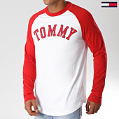 /achat-t-shirts-manches-longues/tommy-hilfiger-jeans-tee-shirt-manches-longues-oversize-raglan-baseball-5083-blanc-rouge-154269.html