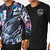 /achat-sweats-col-rond-crewneck/y-et-w-sweat-crewneck-reversible-velours-dragon-noir-154376.html