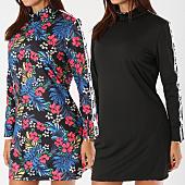 /achat-robes/y-et-w-robe-femme-reversible-avec-bandes-flower-noir-floral-154379.html