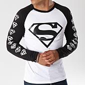 /achat-t-shirts-manches-longues/superman-tee-shirt-manches-longues-raglan-logos-blanc-noir-154787.html