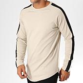 /achat-t-shirts-longs-oversize/frilivin-tee-shirt-manches-longues-oversize-avec-bandes-3882-beige-155002.html