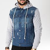 /achat-vestes-jean/classic-series-veste-jean-dc2352-bleu-denim-gris-chine-155077.html