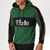 /achat-sweats-capuche/john-h-sweat-capuche-avec-bandes-998-vert-noir-rouge-155133.html