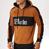 /achat-sweats-capuche/john-h-sweat-capuche-avec-bandes-998-camel-noir-rouge-155136.html