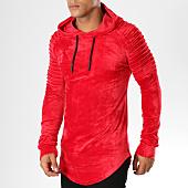 /achat-sweats-capuche/john-h-sweat-crewneck-oversize-velours-551-rouge-155147.html