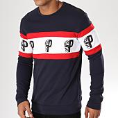 /achat-sweats-col-rond-crewneck/vip-clothing-sweat-crewneck-70011-bleu-marine-rouge-blanc-155553.html