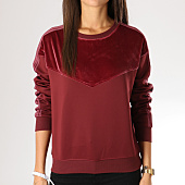/achat-sweats-col-rond-crewneck/only-sweat-crewneck-femme-velours-avec-bandes-misty-bordeaux-155764.html