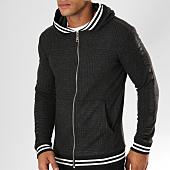 /achat-sweats-zippes-capuche/ikao-sweat-zippe-capuche-carreaux-avec-bandes-f213-gris-anthracite-155857.html