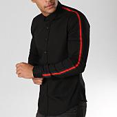 /achat-chemises-manches-longues/lbo-chemise-manches-longues-avec-bandes-slim-fit-543-noir-155896.html