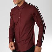 /achat-chemises-manches-longues/lbo-chemise-manches-longues-avec-bandes-slim-fit-544-bordeaux-155897.html