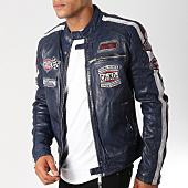 /achat-vestes-cuir/redskins-veste-cuir-patchs-brodes-ripper-calista-bleu-marine-155910.html