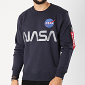 /achat-sweats-col-rond-crewneck/alpha-industries-sweat-crewneck-avec-poche-bomber-nasa-reflective-bleu-marine-156110.html