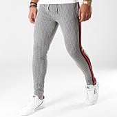 /achat-pantalons-carreaux/classic-series-pantalon-raye-avec-bandes-2218-gris-chine-rouge-noir-156534.html