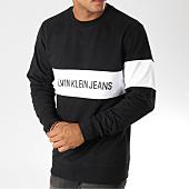 /achat-sweats-col-rond-crewneck/calvin-klein-sweat-crewneck-stripe-institutional-9510-noir-blanc-156896.html