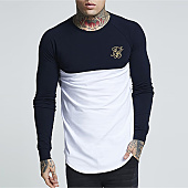 /achat-t-shirts-longs-oversize/siksilk-tee-shirt-manches-longues-oversize-raglan-gym-13573-noir-blanc-dore-157229.html