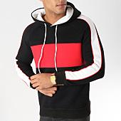 /achat-sweats-capuche/john-h-sweat-capuche-avec-bandes-998-noir-blanc-rouge-157321.html