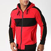 /achat-sweats-zippes-capuche/john-h-sweat-zippe-capuche-avec-bandes-381-rouge-noir-157323.html