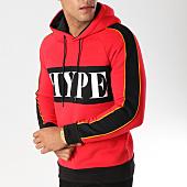 /achat-sweats-capuche/john-h-sweat-capuche-avec-bandes-998-1-rouge-noir-157324.html