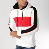 /achat-sweats-capuche/john-h-sweat-capuche-avec-bandes-998-blanc-rouge-noir-157339.html