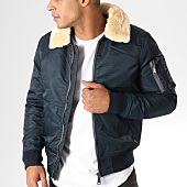 /achat-bombers/adw-58-bomber-col-mouton-fmb1696a-bleu-marine-beige-157607.html