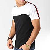 /achat-t-shirts-poche/lbo-tee-shirt-poche-bicolore-avec-bandes-534-blanc-noir-157746.html