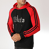 /achat-sweats-capuche/john-h-sweat-capuche-avec-bandes-9106-noir-rouge-157890.html