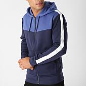 /achat-sweats-zippes-capuche/celio-sweat-zippe-capuche-avec-bandes-amehooted-bleu-marine-blanc-158373.html