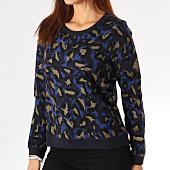 /achat-sweats-col-rond-crewneck/only-sweat-crewneck-femme-annalise-bleu-marine-leopard-dore-158274.html