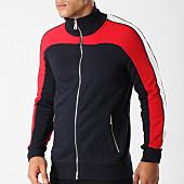 /achat-vestes/gov-denim-sweat-zippe-avec-bandes-g18020ust-bleu-marine-blanc-rouge-158656.html