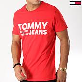 /achat-t-shirts/tommy-hilfiger-jeans-tee-shirt-basic-2192-rouge-logo-blanc-158662.html