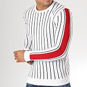 /achat-pulls/john-h-pull-a-rayures-et-bandes-jp14-blanc-159198.html