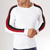 /achat-pulls/john-h-pull-avec-bandes-jp03-blanc-159221.html