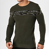/achat-pulls/john-h-pull-jp09-vert-kaki-avec-bande-camouflage-159240.html