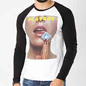 /achat-t-shirts-manches-longues/playboy-tee-shirt-manches-longues-raglan-stamp-blanc-noir-159583.html