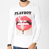 /achat-t-shirts-manches-longues/playboy-tee-shirt-manches-longues-match-blanc-159589.html