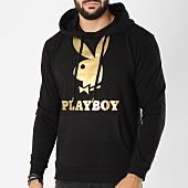 /achat-sweats-capuche/playboy-sweat-capuche-logo-noir-dore-159652.html