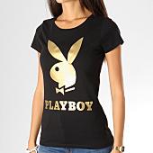 /achat-t-shirts/playboy-tee-shirt-femme-logo-noir-dore-159695.html