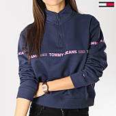 /achat-sweats-col-zippe/tommy-hilfiger-jeans-sweat-col-zippe-femme-mock-bleu-marine-159640.html